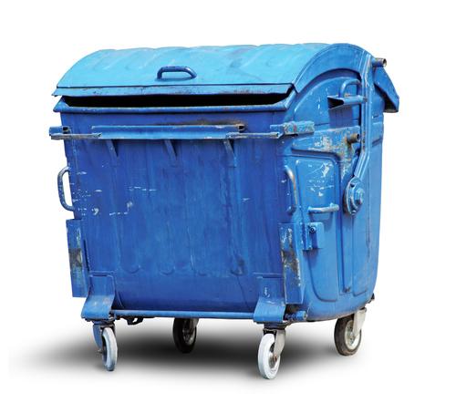 Blue dumpster