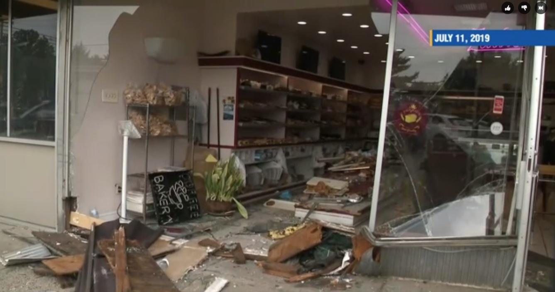 Aftermath of Zadie's Bakery storefront crash, July 2019