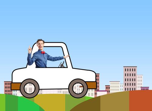 funny man driving cartoon car