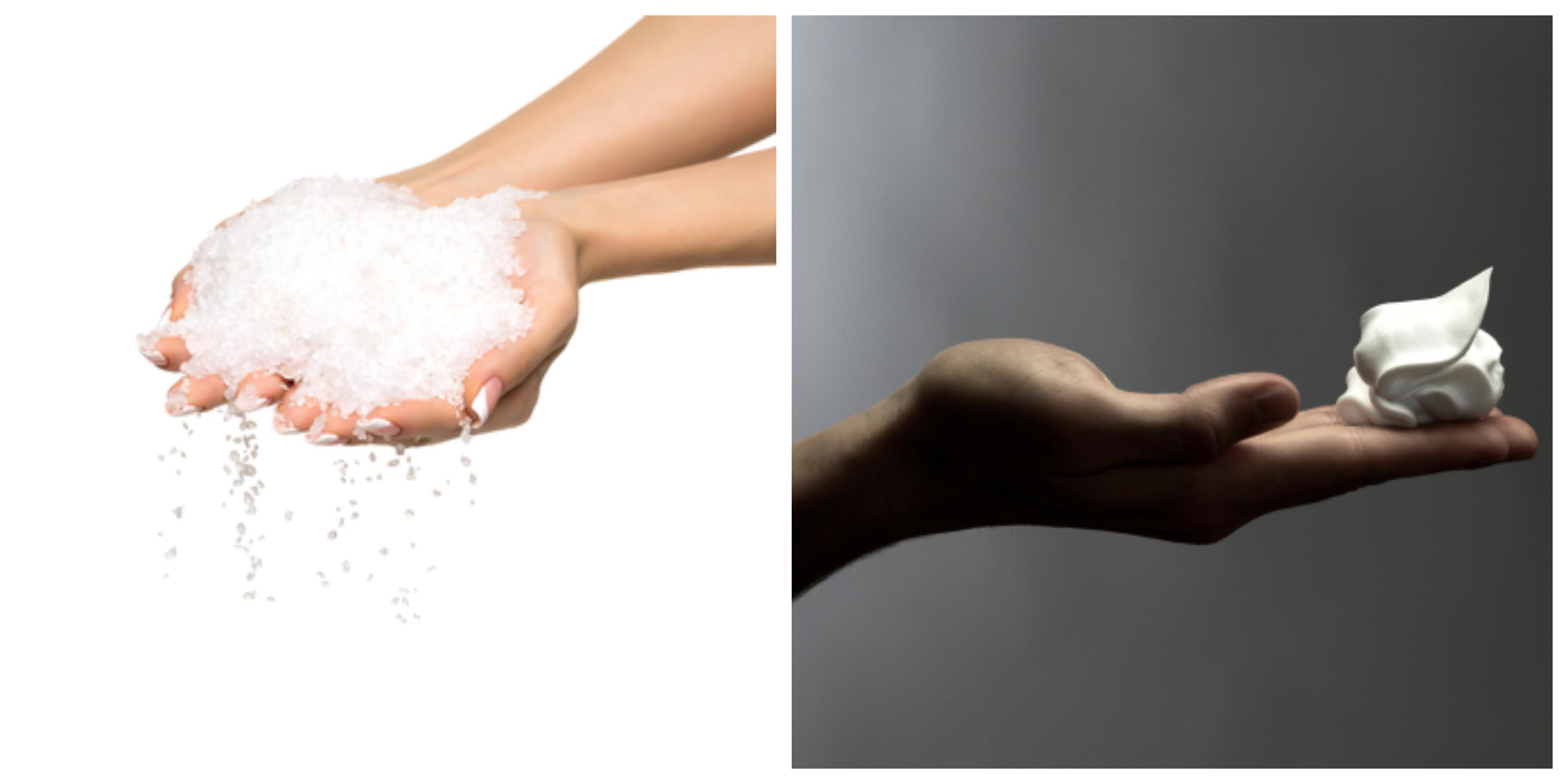 hands hold salt, shaving cream