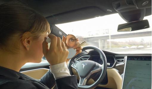woman applies mascara in Tesla autonomous self driving car