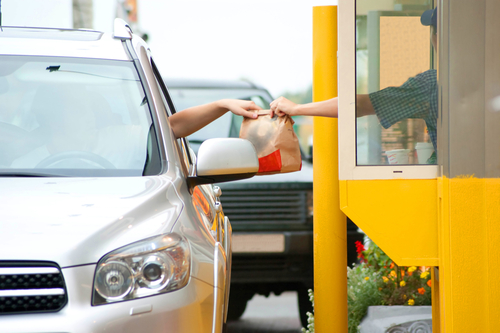 Drive-thru pick-up for fast food