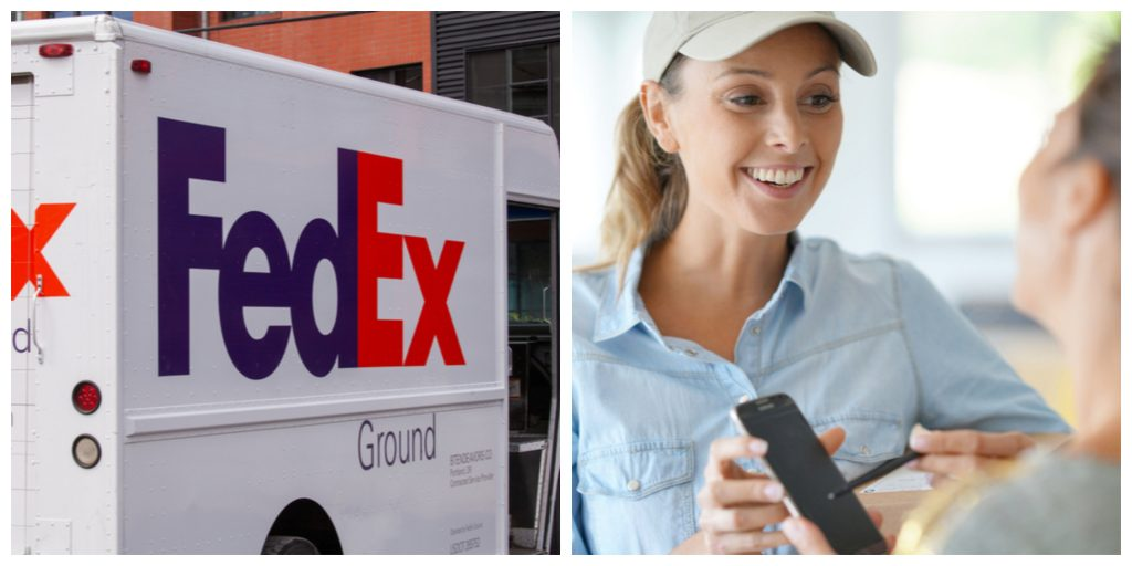 fed ex truck delivery girl customer signs