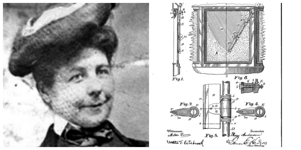 Mary Anderson, inventor of the windshield wiper, with a sketch of her invention