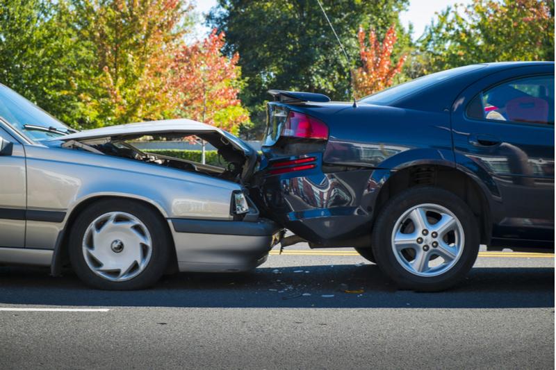 car crash, car is rear ended