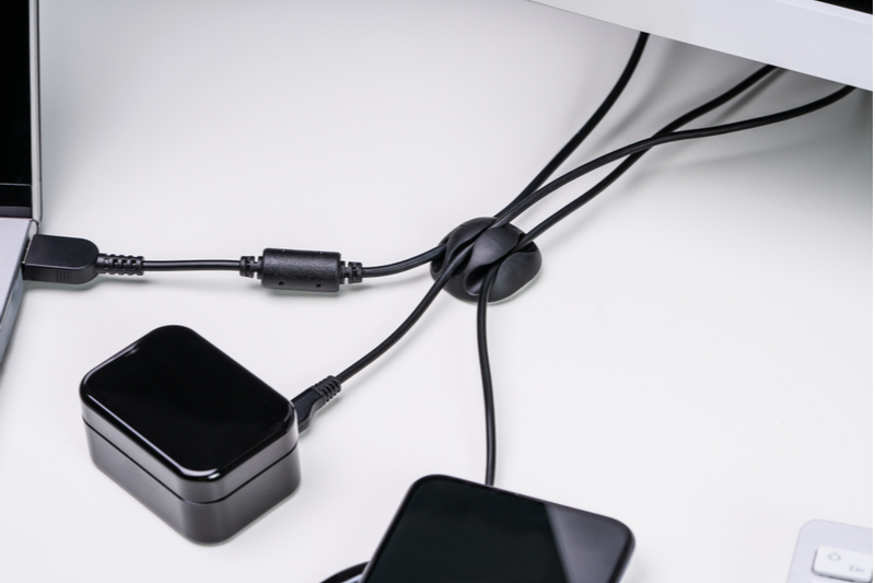 clip on cable organizer for home office or car