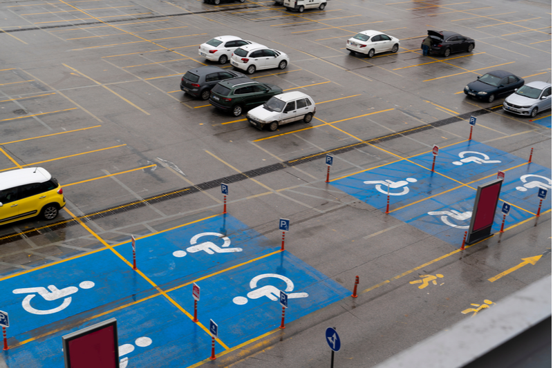 handicap parking spot spaces in mall parking lot
