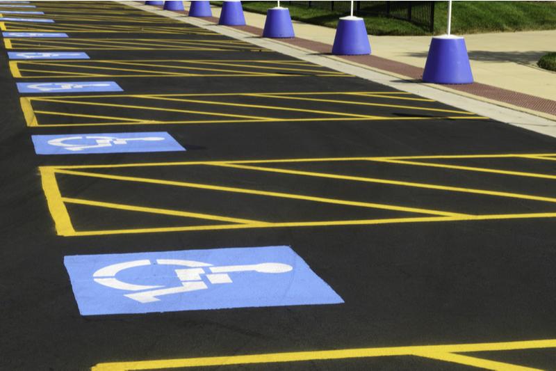 row of handicap parking spots