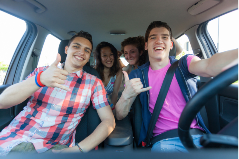 Teen driver with passengers